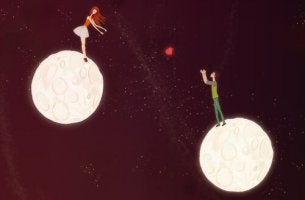 girl and boy on moons