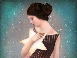 girl embracing star