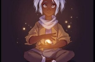 girl holding light