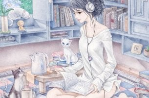 girl listening to music and reading