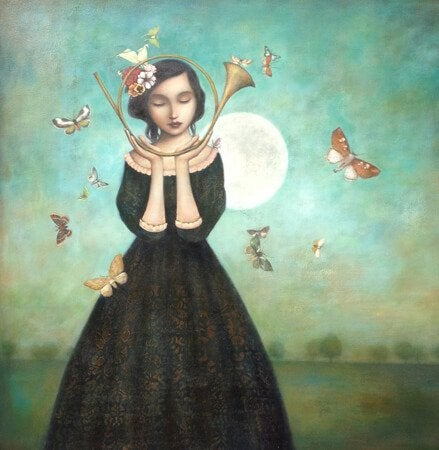 girl with moon