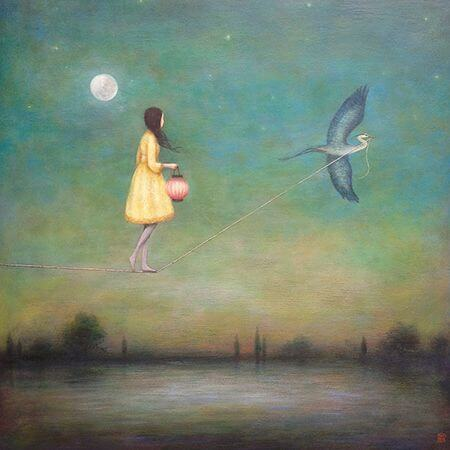 girl on tightrope held by bird