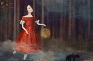 girl red dress in the woods