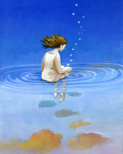 girl sitting on water