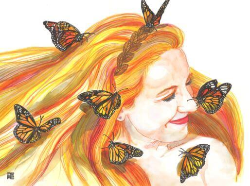girl smiling with butterflies