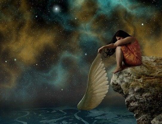 girl took her wings off