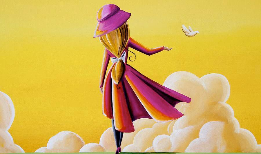 girl with a red coat simbolizing letting a dove go