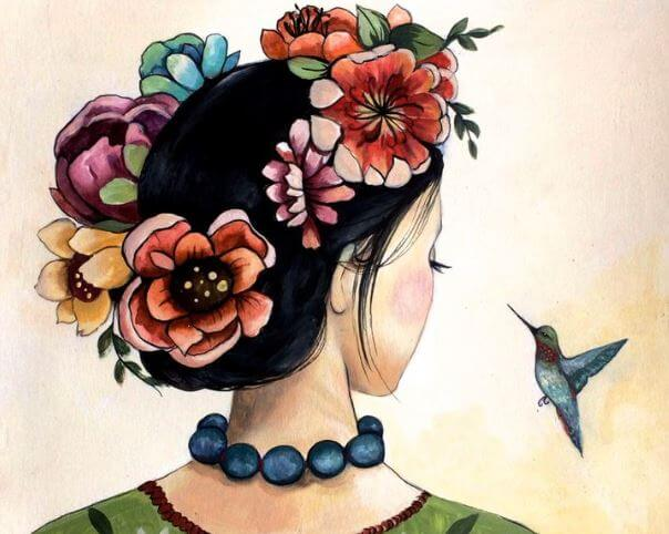 girl with flowers in hair