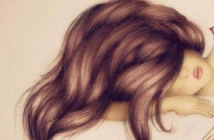 girl with hair covering face