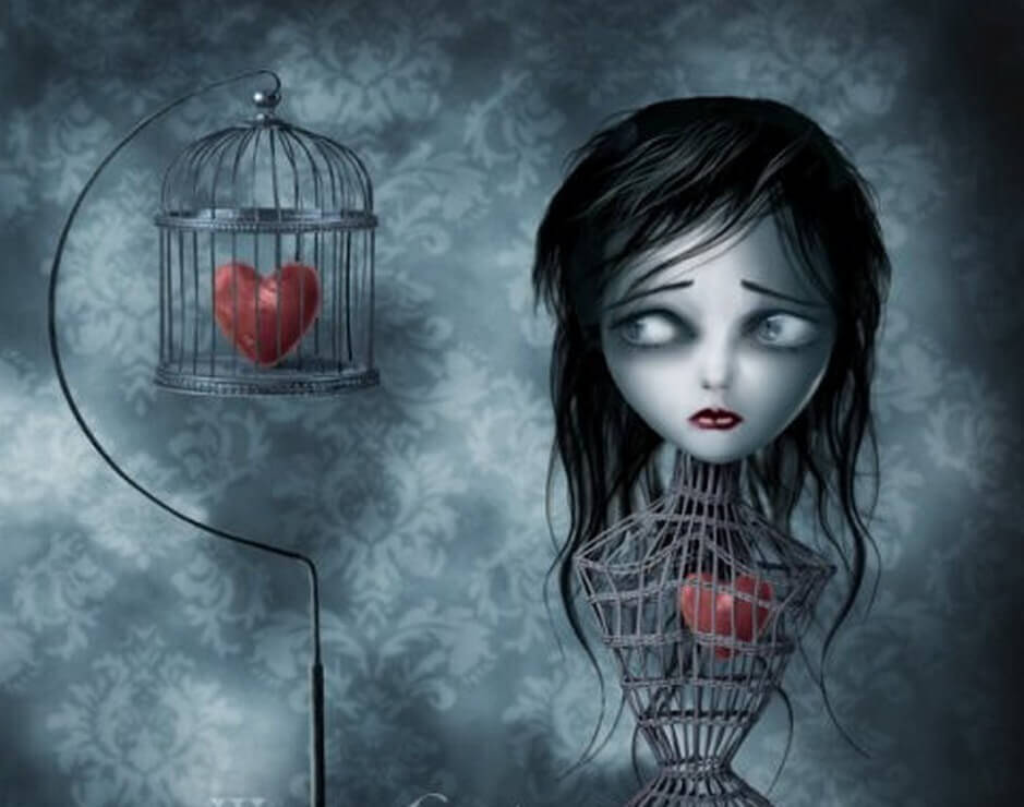 girl with heart in cage