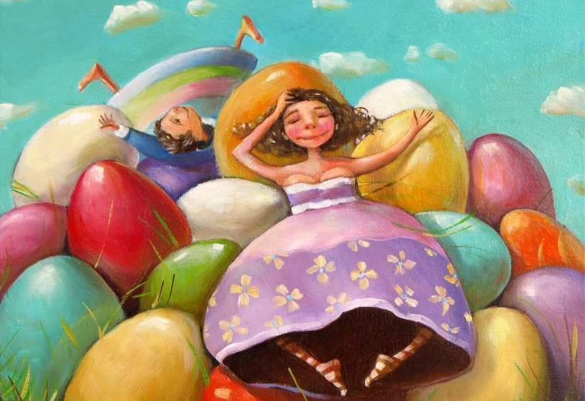 girls with giant colorful eggs