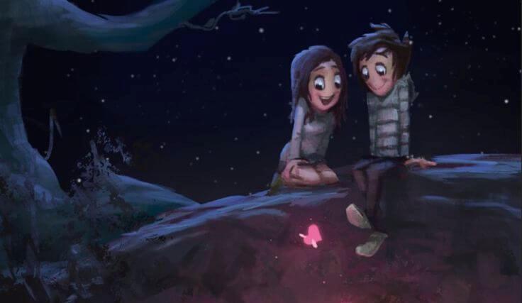 happy couple on a bridge