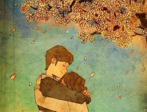 hugs tree