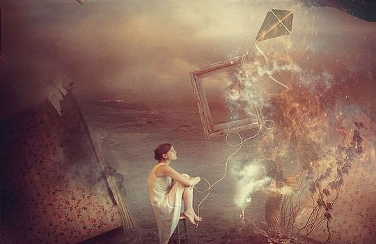 surreal image girl kite dreaming