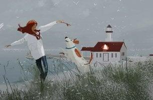 lady and dog lighthouse