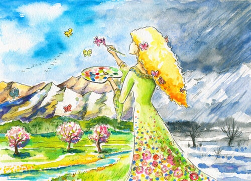 lady painting butterfly