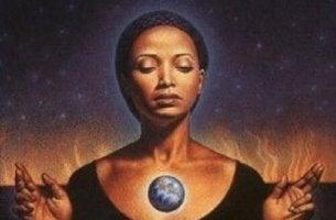 woman meditating take