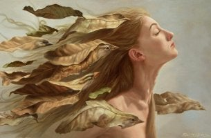 Woman with Leaf Birds in Hair