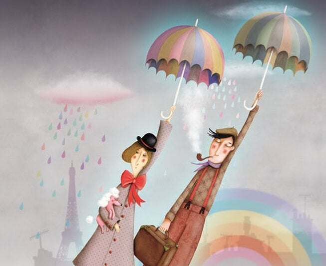 Couple Flying with Umbrellas