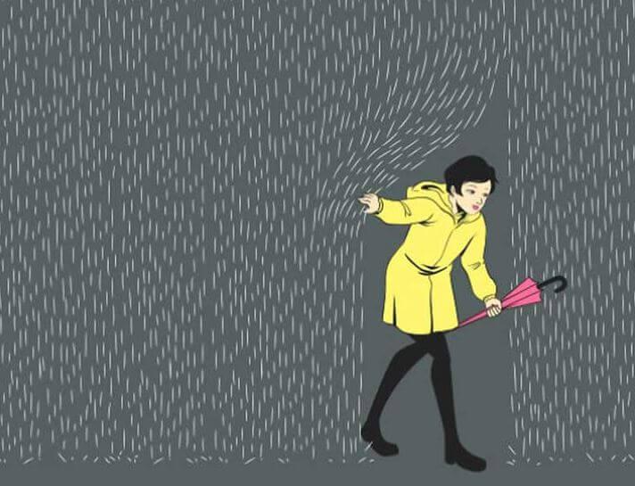 Girl Moving Curtain of Rain