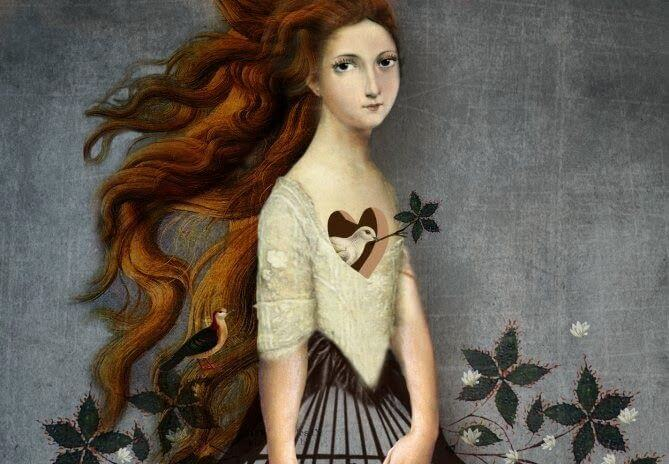 red haired girl with bird in her heart