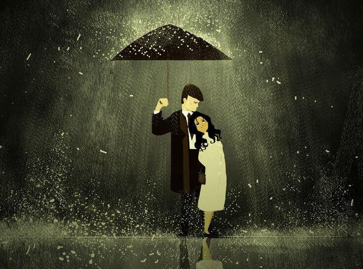 Man Holding Umbrella for Woman