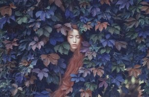 Woman Surrounded by Leaves