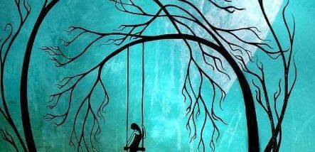 Sad Woman on Swing