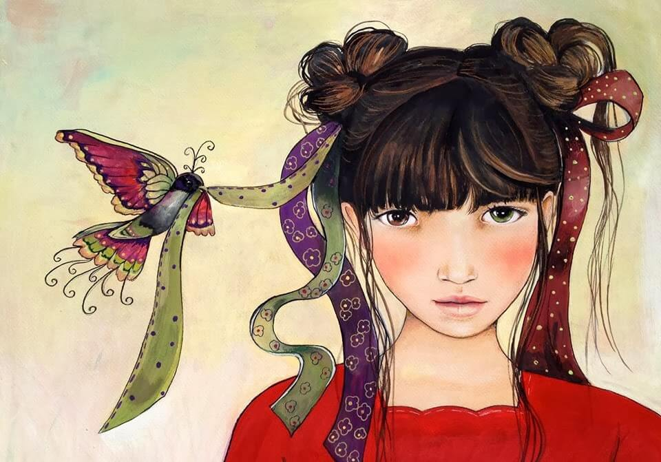 bird holding the ribbon in a girl's hair