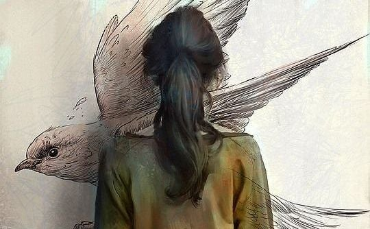 girl facing bird on wall exist