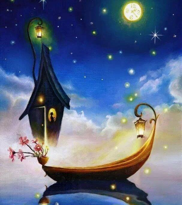 boat with a moon in a world where anything is possible
