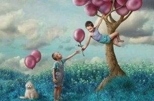 boys in balloon tree