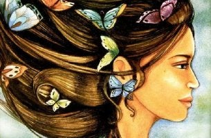 butterflies in womans hair