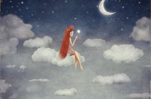 girl floating in night sky smiles