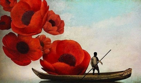 flowers and canoe