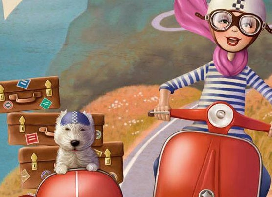 girl and dog on motorbike