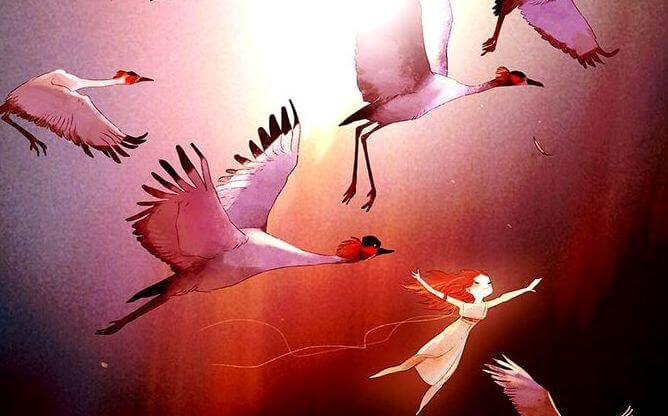 girl flying with birds