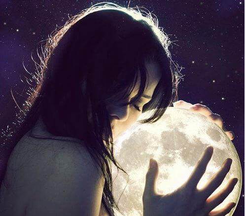 girl holding moon
