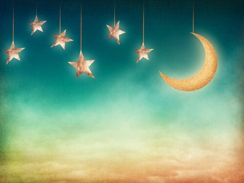 hanging stars and moon