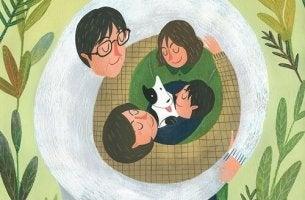 loving family hugging