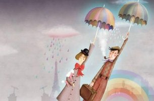 man and woman flying on umbrellas