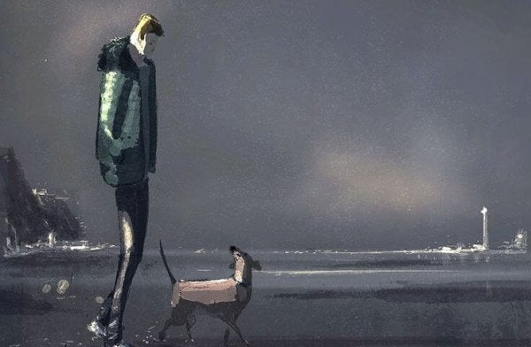 man walking a dog