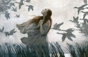 Woman Surrounded by Geese