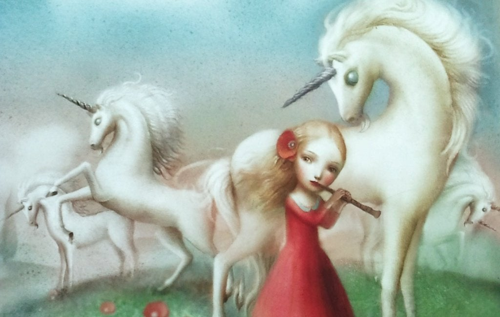 Girl with Unicorns playing Flute
