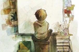 Boy Staring at Canvas