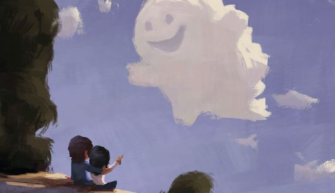 Couple Looking at Smiling Cloud