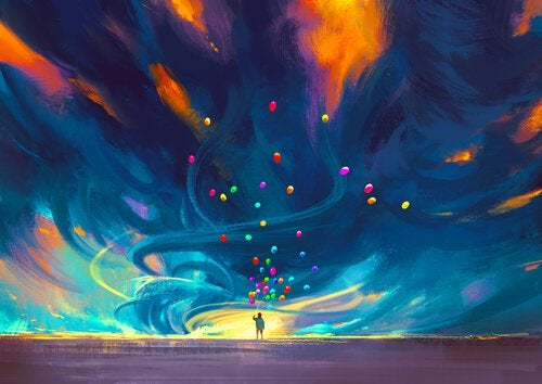 person with many colorful balloons