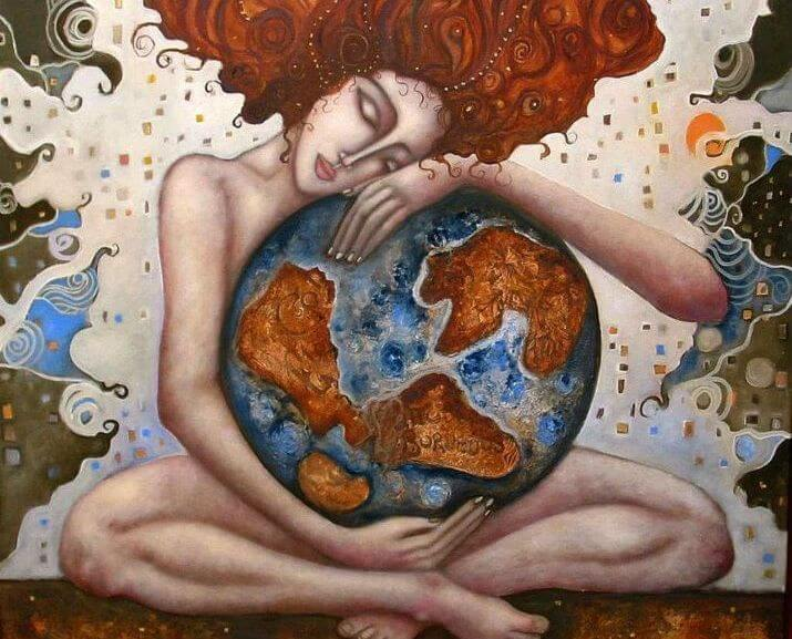 woman hugging the world