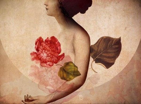 woman, leaves, flowers