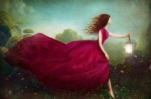 woman long dress lantern